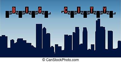 都市, 建物, シルエット, 大きい, イラスト, 高く, ベクトル
