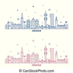 都市, 建物, スカイライン, スウェーデン, ベクトル, ストックホルム
