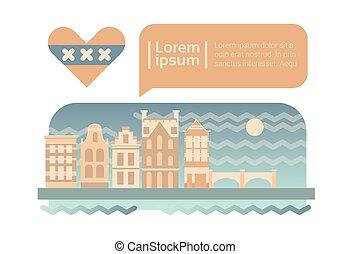 都市, 建物, スカイライン, 通り, ファサド, アムステルダム, 漫画