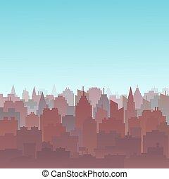 都市, 建物, ダウンタウンに, シルエット, illustration., 景色。, skyscrapers., パノラマ, 風景, 生活, 高く, バックグラウンド。, スカイライン, 日没, 建築, goverment, 都市