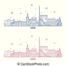 都市, 建物, ダブリン, ベクトル, アイルランド, スカイライン