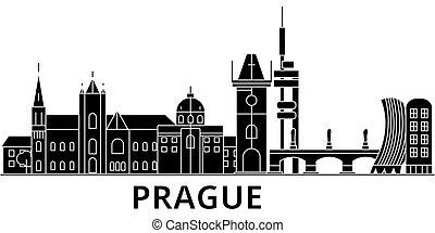 都市, 建物, プラハ, 光景, 隔離された, ランドマーク, ベクトル, 建築, 背景, 都市の景観, スカイライン, 旅行