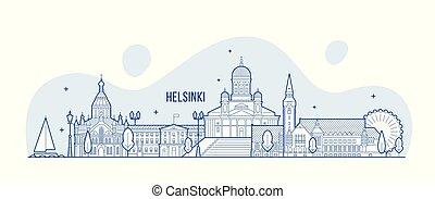 都市, 建物, ヘルシンキ, フィンランド, ベクトル, スカイライン