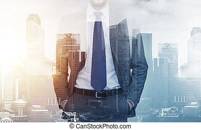 都市, 建物, 上に, の上, ビジネスマン, 終わり
