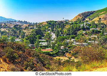 都市, 建物, 丘, 区域, hills., 住宅の, 光景, beverly, ハリウッド
