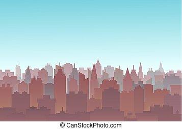 都市, 建物, 土地, シルエット, illustration., 景色。, skyscrapers., パノラマ, scape., 生活, ダウンタウンに, 高く, 風景, goverment, 都市, 建築