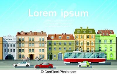 都市, 建物, 家, 光景, ∥で∥, 自動車, 道, 市街電車, 輸送, 背景, スカイライン, コピースペース