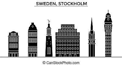 都市, 建物, 旅行, 光景, 隔離された, ランドマーク, ベクトル, 建築, 背景, スウェーデン, 都市の景観, スカイライン, ストックホルム