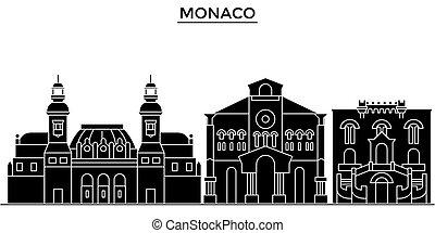 都市, 建物, 旅行, 光景, 隔離された, ランドマーク, ベクトル, 建築, 背景, モナコ, 都市の景観, スカイライン