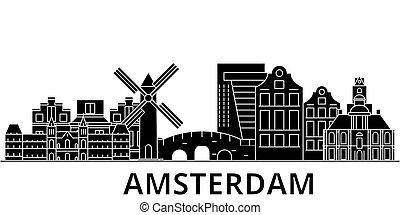 都市, 建物, 旅行, 光景, 隔離された, ランドマーク, ベクトル, 建築, 背景, 都市の景観, アムステルダム, スカイライン
