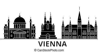 都市, 建物, 旅行, 光景, 隔離された, ランドマーク, ベクトル, 建築, 背景, 都市の景観, スカイライン, ウィーン