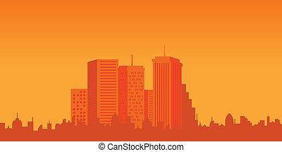 都市, 建物, 日没