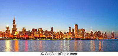 都市, 建物, 照らされた, ビジネス, シカゴ, パノラマ, アメリカ, ダウンタウンに, スカイライン, 日没, カラフルである
