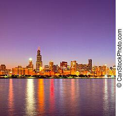 都市, 建物, 照らされた, ビジネス, シカゴ, パノラマ, アメリカ, ダウンタウンに, スカイライン, 日没, 反射, カラフルである