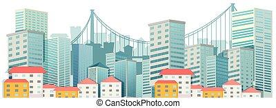 都市, 建物, 現場, 高い
