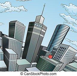 都市, 建物, 背景