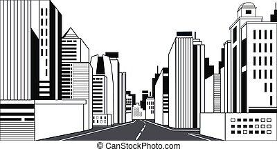 都市, 建物, 超高層ビル, アスファルト, 現代, 高く, スカイライン, 道, 背景, 都市の景観, 線, 横, ハイウェー