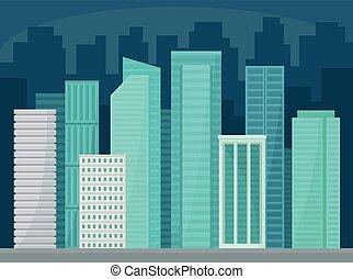 都市, 建物, 通り, パノラマ, ビジネス, 都市, 超高層ビル, 現代, イラスト, ベクトル, 都市の景観, 夜, 風景