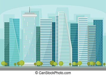 都市, 建物, 通り, パノラマ, ビジネス, 都市, 超高層ビル, 現代, イラスト, 時間, ベクトル, 都市の景観, 日, 風景