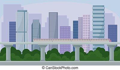 都市, 建物, 通り, パノラマ, 都市, 列車, 現代, イラスト, ベクトル, 超高層ビル, 都市の景観, 風景