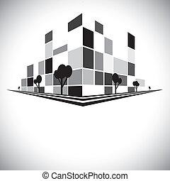 都市, 建物, b, &, タワー, 超高層ビル, 通り, 陰, 灰色, 木, スカイライン, w, 高い, 黒, 白