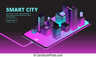 都市, 建物, city., technology., 理性的, 等大, ベクトル, 未来, 旗, 痛みなさい, 3d