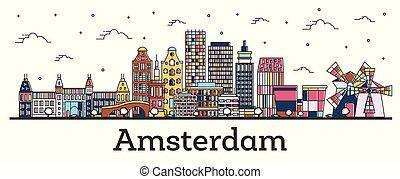 都市, 建物, netherlands, アウトライン, 色, 隔離された, スカイライン, white., アムステルダム