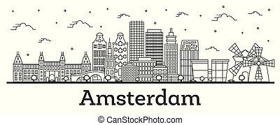 都市, 建物, netherlands, アウトライン, 隔離された, スカイライン, 歴史的, white., アムステルダム