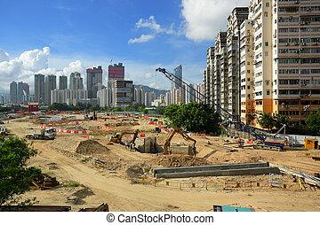 都市, 建築現場