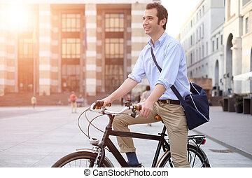 都市, 彼の, 自転車, 人, 乗馬