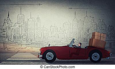 都市, 彼女, ローディング, もう1(つ・人), 運転, stuff., 大きい, 旅行, ボックスを伴う, 家, パッキング, 女, 引っ越し, レトロ, 自動車, 新しい, ボール紙, home., ファインド, 赤