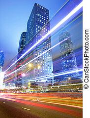 都市, 忙しい, 交通, 道, 夜