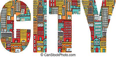 都市, 忙しい, 単語