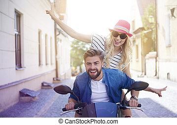都市, 恋人, によって, スクーター, 運転