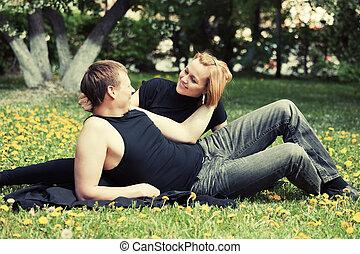 都市, 恋人, 公園, 若い, 幸せ