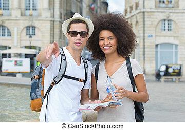 都市, 恋人, 若い, 観光客