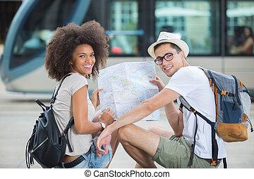 都市, 恋人, 観光客
