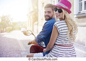 都市, 恋人, 観光, スクーター, 乗馬