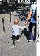 都市, 息子, 父, 歩きなさい