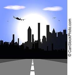 都市, 想像, スカイライン, 超高層ビル