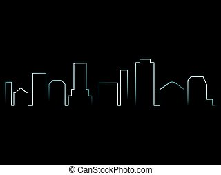 都市, 想像, ベクトル, スカイライン, 都市