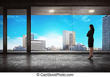 都市, 成功した, 背中, 見る, マネージャー, 光景