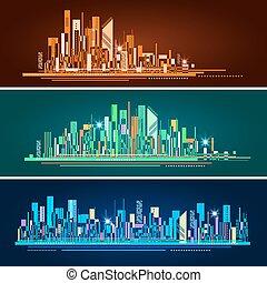 都市, 抽象的, イラスト, スカイライン, ベクトル