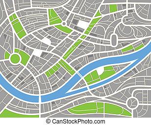 都市, 抽象的, イラスト, 地図