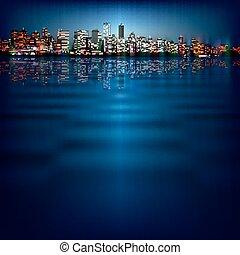 都市, 抽象的, シルエット, 背景