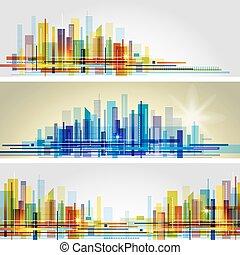 都市, 抽象的, スカイライン