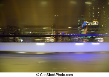 都市, 抽象的, 窓, blured, 夜, 光景