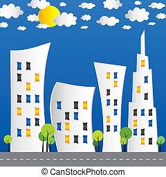 都市, 抽象的, 通り, 創造的