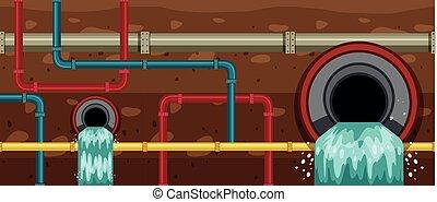 都市, 排水管, 大きい, 地下