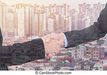 都市, 握手, ビジネス, ダブル, スタイル, 背景, さらされること